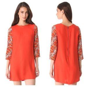 Club Monaco Jay Floral Sleeve Red Mini Dress
